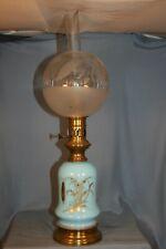 ancienne lampe à pétrole en verre opaline bleu