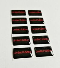 10x LIMITED EDITION 3D DOMED BADGE LOGO EMBLEM STICKER GRAPHIC DECAL BLACK RED