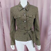 Jones New York Women's Wool & Silk Long Sleeve Blazer Jacket W Belt Size 6