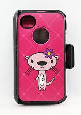 Defender Rugged Hard Case w/Holster Belt Clip for iPhone 4/4S (Pink Otter/Black)