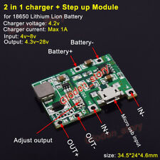 USB Lithium Li-ion Lipo Battery Charger Module 3.7v 4.2v Boost Step Up 5V 9V 12V
