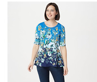 Isaac Mizrahi Live! Engineered Floral Print Peplum Top Blue, XXS XX-Small