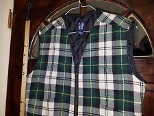 Men's M Tartan Plaid Vest  Wool Blend Quilted Lining Zip Front  4 Pockets  W21