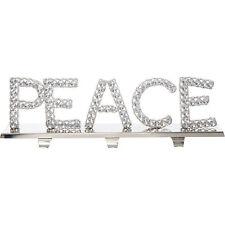 PEACE Silver Tone & Crystal Hanger Shabby Chic Ornament/Shelf 17x57cm