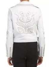Belle Vere Women's Jacket XS White Leather Silver Studded Embellished Moto