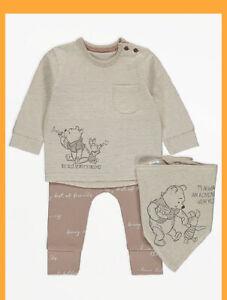 Baby Disney Top Set  Winnie the pooh Top Joggers And Bib Set