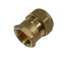 15mm Compression x 1/4 Inch BSP Female Adaptor   Brass Plumbing Fitting