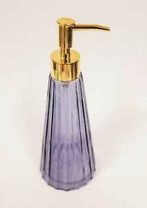 NEW PURPLE CLEAR GLASS 3D STRIPES+GOLD TONE PUMP BATHROOM LOTION, SOAP DISPENSER