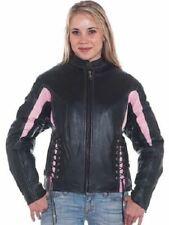 Womens Black & Pink Leather Racer Jacket w/Multi Pockets Z/O Lining