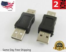 2 Pack USB 2.0 A Male to USB A Male Adapter Converter Extender Coupler