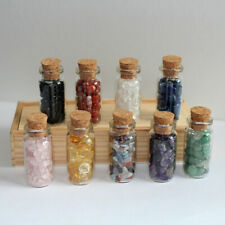 Wicca Stones Set for Home Decorate 6 Mini Gemstone Bottles Crystal Tumbled Gem