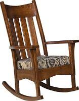 Amish Mission Craftsman Slat Back Solid Wood Rocking Chair Rocker Upholstered