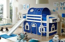 Lit mezzanine avec toboggan THEO R Hêtre massif teinté blanc tissus Bleu-Blanc