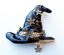 Witch's Hat Brooch, Witches Hat, Enamelled, Black Hat, Pagan, Wiccan. Style 1.