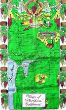 Vintage California Wine Map Napa Valley Sonoma Unique Tea Towel Wall Hanging