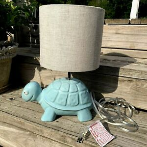 Pottery Barn Kids Turtle Lamp with Shade Light Blue Ceramic Children Room Switch