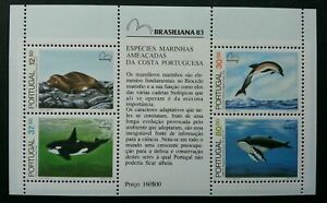 [SJ] Portugal Brasiliana 1983 Ocean Whale Fish Marine Life Sea (ms) MNH