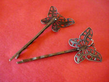 4pc antique bronze finish hair clips with filigree butterfly setting-3285c