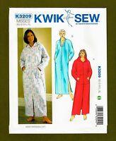 Comfort Robe Sewing Patterns~Optional Pockets & Hood (Sizes XS-XL) Kwik Sew 3209