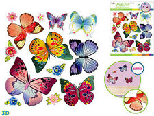 BUTTERFLIES & FLOWERS glitter 3D wall stickers 13 decals decor colorful stunning