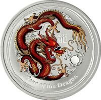 Australien 1 Dollar 2012 Jahr des Drachen Lunar Serie II Silbermünze in Farbe