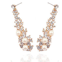 Luxury Gold & Ivory White Pearls Drop Dangle Earrings Wedding Bridal E1186