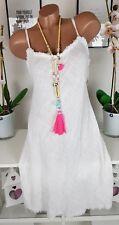 Kleid Sommer Strand  Hippie Ibiza Fransen weiß süß 36 38 40 neu