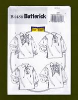 Historical Lace Up Man or Woman Pirate Shirt Sewing Pattern (S-L) Butterick 4486
