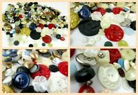 Vintage Button Lot 200 Piece   Mixed Variety Plastic Metal Sewing Crafts