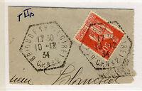"""FRANCE - 1934 - CàD Poste Automobile Rurale """"BRIOUDE (Hte LOIRE)/C.P.N°2"""" Yv.283"""