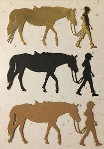 Equestrian, Horse & Rider Die Cuts  ( 6 Pack) 2 Of Each Colour 10 X 5 Cm