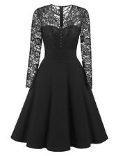 Womens Fall Vintage Lace Formal Wedding Cocktail Evening Party Retro Swing Dress