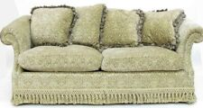 Chippendale Style Custom English Sofa Rolled Arms and Tassel Accents & Pillows