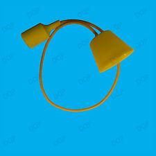 Yellow Silicone Coated ES E27 Rose Pendant Ceiling Lamp Light Bulb Holder Kit