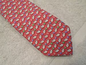 Vineyard Vines Bunny & Egg Pattern Print Silk Tie NWT $85 Made in USA Coral Pink