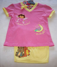 Dora The Explorer Girls Pink Yellow Embroidered Pyjama Set Size 6 New