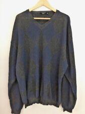 Johnnie Walker Mens V Neck Sweater Size XXL Blue Gray Alpaca Blend Pullover