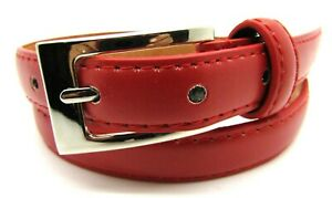Lorenz Ladies New High Quality Skinny Slim Genuine Leather Belt Silver Buckle