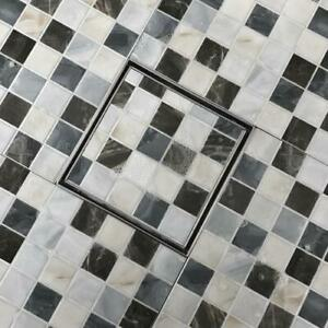 Stainless Steel Shower drain, Linear wetroom gutter, 15cm Square, Tiled, 2 face