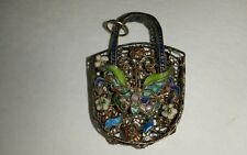 Silver Filigree Enamel Basket Penant 1 3/4 Inches Lovely Estate Find