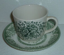 Wood Sons Cup And Saucer Set GREEN ROSE Vtg England