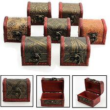 1 x Antique Small Wooden Trinket Box Retro Egyptian Colonial Treasure Chests NE