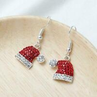 FUNKY SILVER FATHER CHRISTMAS SANTA HAT EARRINGS CUTE SPARKLY FESTIVE XMAS GIFT