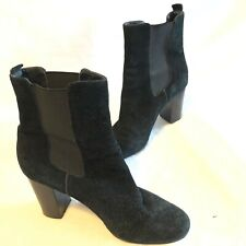Tahari Size 8M Garnet Black Genuine Suede Leather Ankle Boots