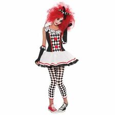 Teen Harlequin Honey Circus Clown Jester Black White Fancy Dress Costume Small