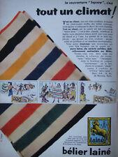PUBLICITÉ PRESSE 1956 BÉLIER LAINE COUVERTURE SQUAW TOUT CLIMAT - ADVERTISING