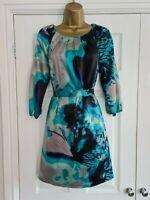 Bnwt LADIES Lined Blue Silky Feel Dress Size 12