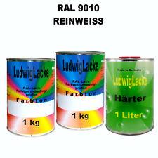 RAL 9010 Blanc Virginal Reinweiss 3 Kg Set Acryllack Brillant AVEC PLUS DUR masc...