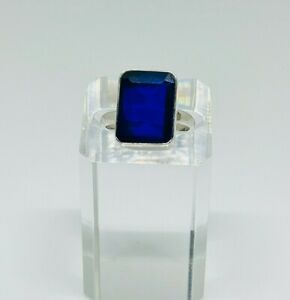 Gorgeous Sparkling Blue Sapphire Stone Ring 925 Silver Size S~S1/2 #16321
