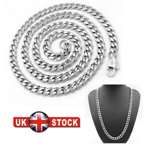 Mens Iced Out SILVER 8mm Miami Cuban Link Chain Thick Heavy Necklace 20 inch UK